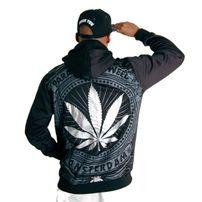 Bsat Paradise of Weed Zip Hoodie Black Silver