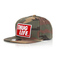 Thug Life Logo Camo Snapback Cap