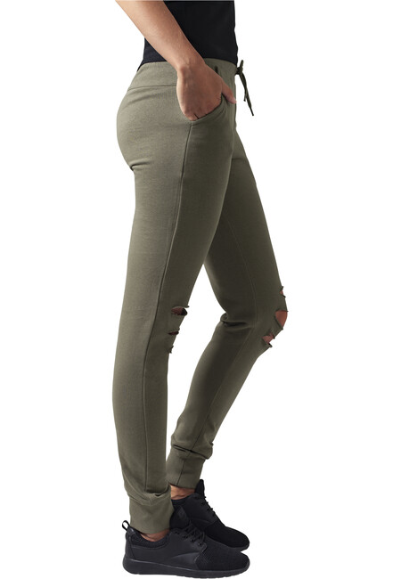 Urban Classics Ladies Cutted Terry Pants olive