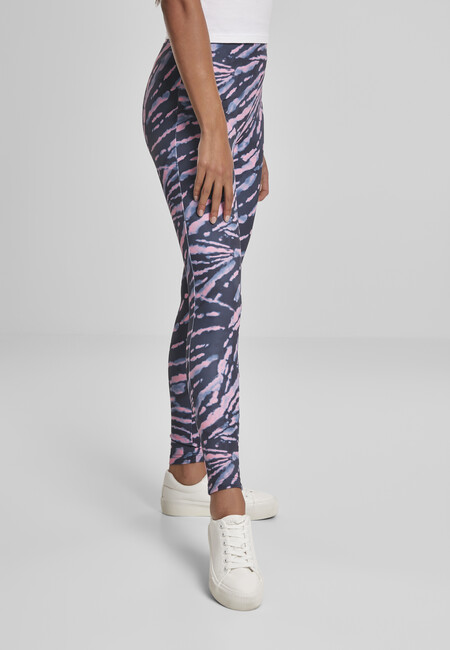 Urban Classics Ladies High Waist Tie Dye Leggings darkshadow/pink