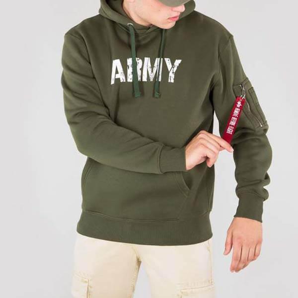 Pánska mikina Alpha Industries Army Nav Hoody Army Green - 2XL 9998269b4cf