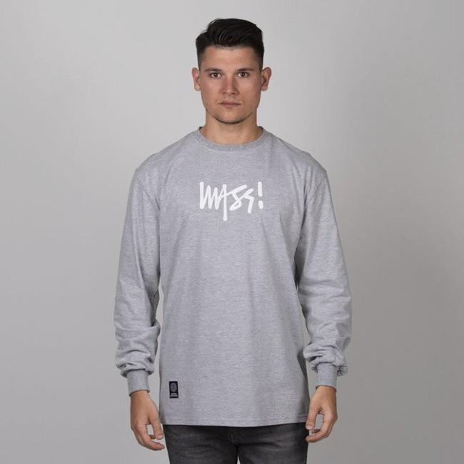 Mass Denim Signature Medium Logo Longsleeve light heather grey
