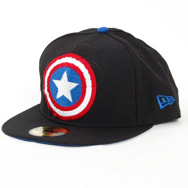 New Era Logo In Capt America Off Black - 7 3/8
