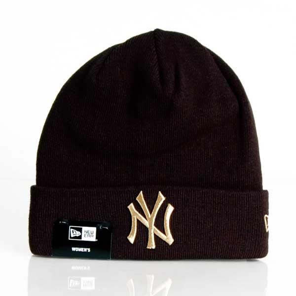 Dámská Čapica NEW ERA MLB Wmns Metallic Logo Cuff Knit NY Yankees Black - UNI
