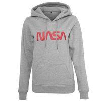 Mr. Tee Ladies NASA Worm Logo Hoody h.grey