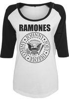 Mr. Tee Ladies Ramones Circle Raglan Tee wht/blk