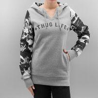 Thug Life Skullpattern Hoodie Grey Mel