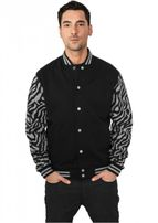 Urban Classics 2-tone Zebra College Jacket gry/blk