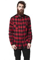 Urban Classics Cord Patched Checked Flanell Shirt blk/red