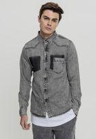 Urban Classics Denim Pocket Shirt grey wash