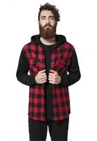 Urban Classics Hooded Checked Flanell Sweat Sleeve Shirt blk/red/bl