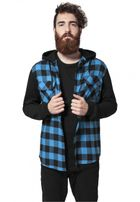 Urban Classics Hooded Checked Flanell Sweat Sleeve Shirt blk/tur/bl