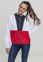 Urban Classics Ladies 3-Tone Oversize Windbreaker navy/white/fire red