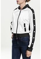 Urban Classics Ladies Button Up Track Jacket wht/blk/wht
