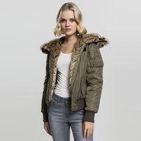 Urban Classics Ladies Imitation Fur Bomber Jacket darkolive