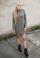 Urban Classics Ladies Oversized Turtleneck Dress grey
