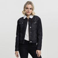 Urban Classics Ladies Sherpa Denim Jacket black washed