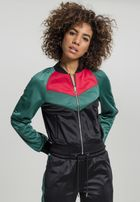 Urban Classics Ladies Short Raglan Track Jacket black/green/fire red