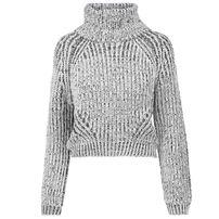 Dámsky sveter Urban Classics Ladies Short Turtleneck Sweater offwhite melange