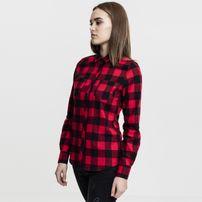 Dámska košeľa Urban Classics Ladies Turnup Checked Flanell Shirt blk/red