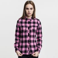Dámska košeľa Urban Classics Ladies Turnup Checked Flanell Shirt blk/rose
