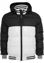 Urban Classics Shiny 2-tone Hooded College Bubble Jacket wht/blk