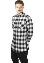 Urban Classics Side-Zip Long Checked Flanell Shirt blk/wht