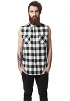 Urban Classics Sleeveless Checked Flanell Shirt blk/wht