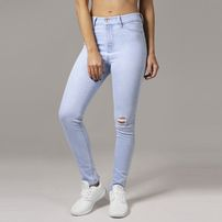 Urban Classics Ladies High Waist Skinny Denim Pants lightblue