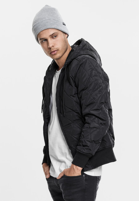 Urban Classics Hooded Big Diamond Quilt Jacket black - XL