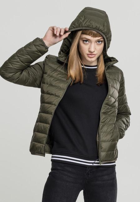 Urban Classics Ladies Basic Hooded Down Jacket darkolive - XS