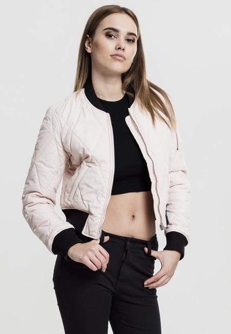 Urban Classics Ladies Diamond Quilt Short Bomber light pink/black - XL