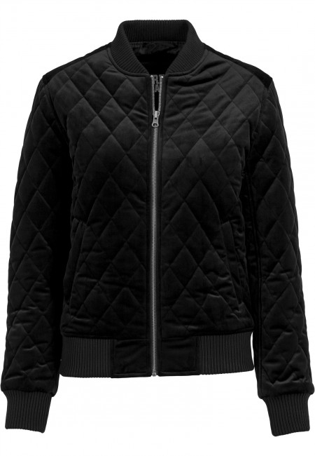 Urban Classics Ladies Diamond Quilt Velvet Jacket black - XL