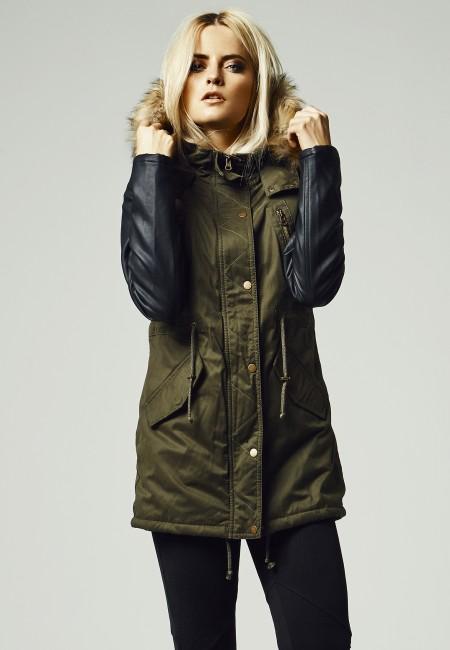 Urban Classics Ladies Leather Imitation Sleeve Parka olv/blk - M