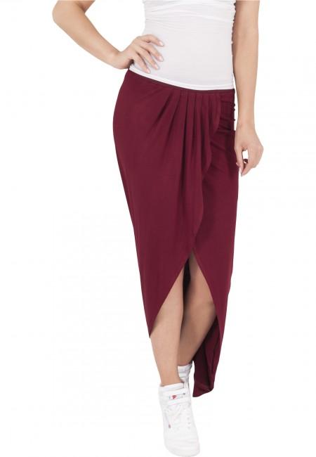 Urban Classics Ladies Long Viscon Skirt burgundy - S