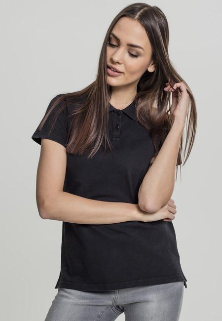 Urban Classics Ladies Wash Polo Tee black - 3XL