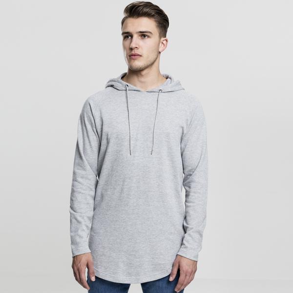 Pánska mikina Urban Classics Long Shaped Terry Hoody grey - XL